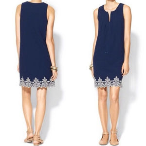 Embroidered Sleevless Shift Dress Navy